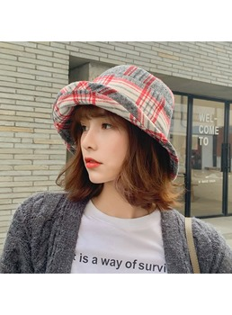 Women's Grid Wide Brim Dome Printed Plaid Cap Wool Blends Bucket Hats For Spring Fall Winter