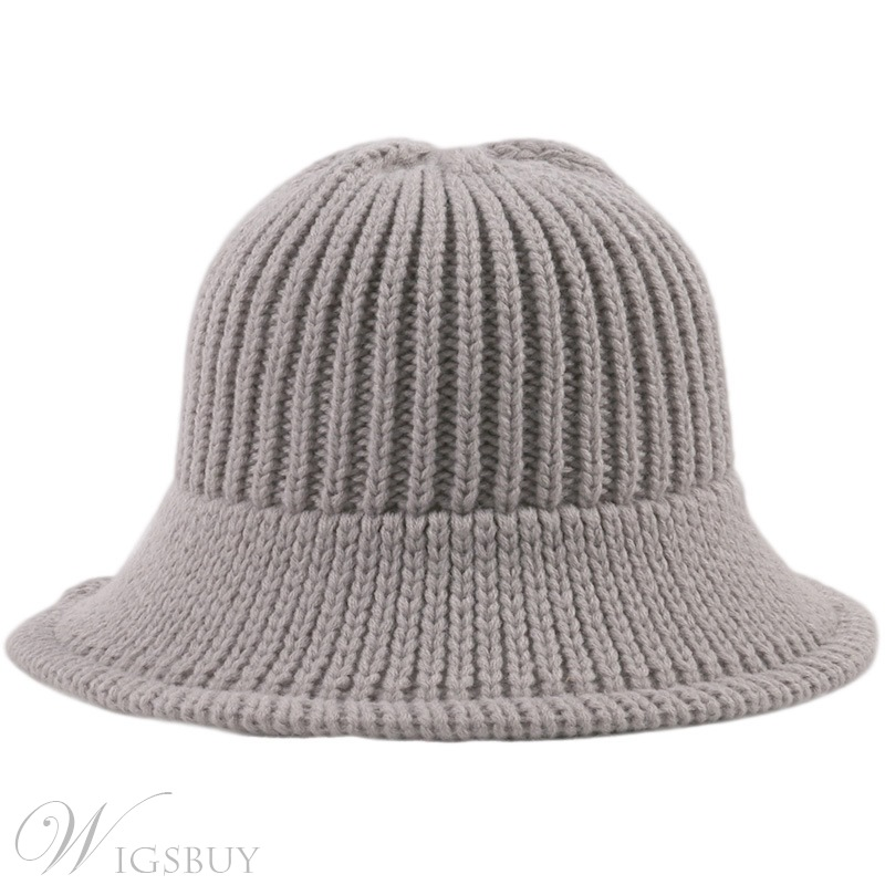 Spring/Fall/Winter Women's Acrylic Tall Crown Wide Brim Casual Style Plain Knitted Hats