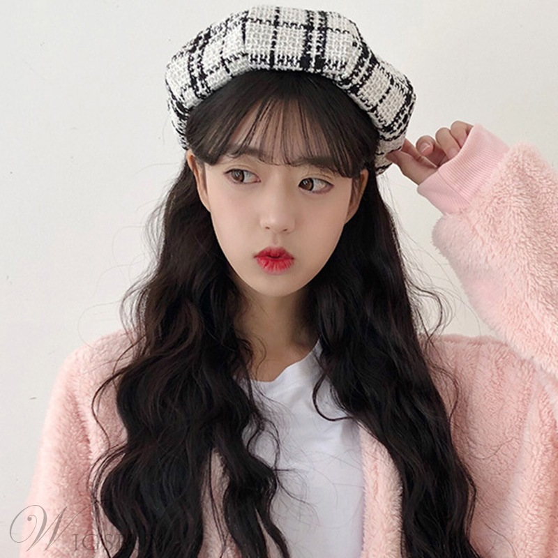 Korean Style Women/Ladies Grid Brimless Plaid Dome Hats Wool Blends Fashion Hats