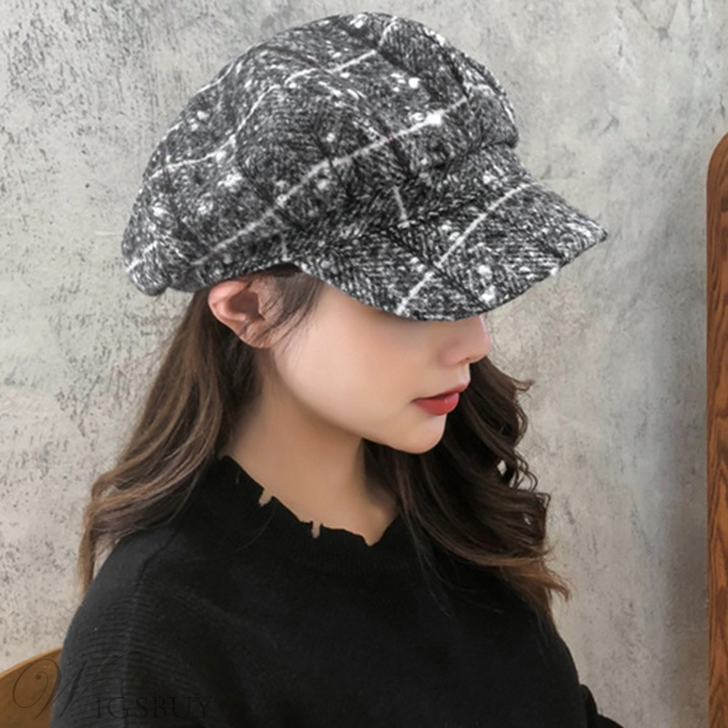 Women/Ladies Spring Fall Winter Short Brim Dome Crown Hats Plaid Wool Blends Newsboy Cap