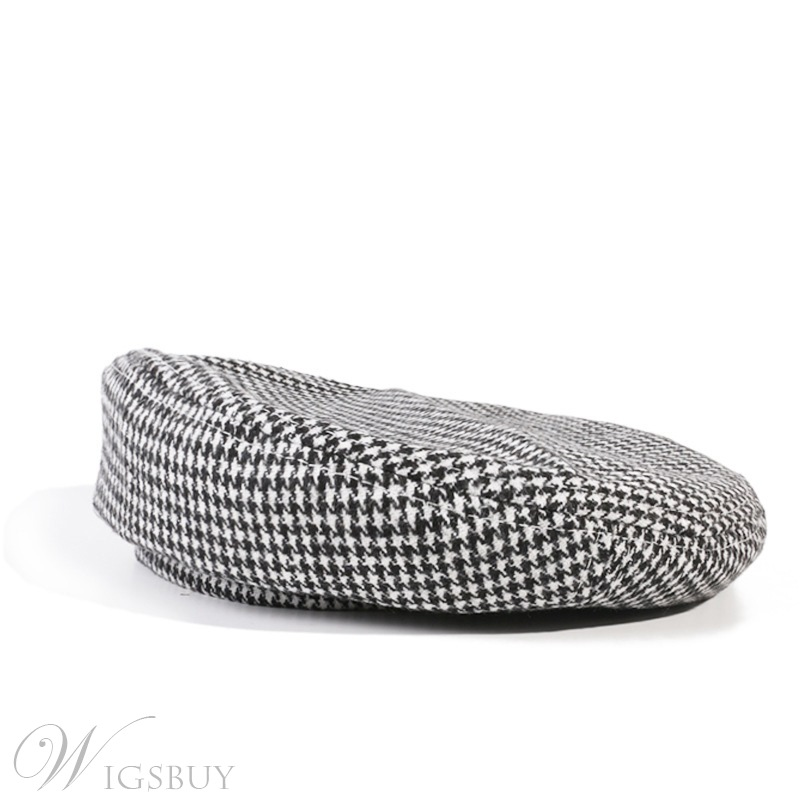 Women's Wool Blends Houndstooth Sewing Thread Brimless Flat Hats