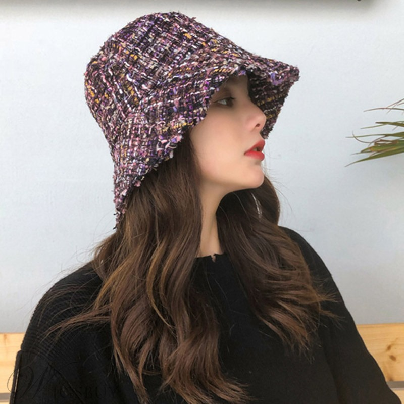 Fall/Winter Women Ladies Dome Crown Type Wide Brim Wool Blends Bucket Hats