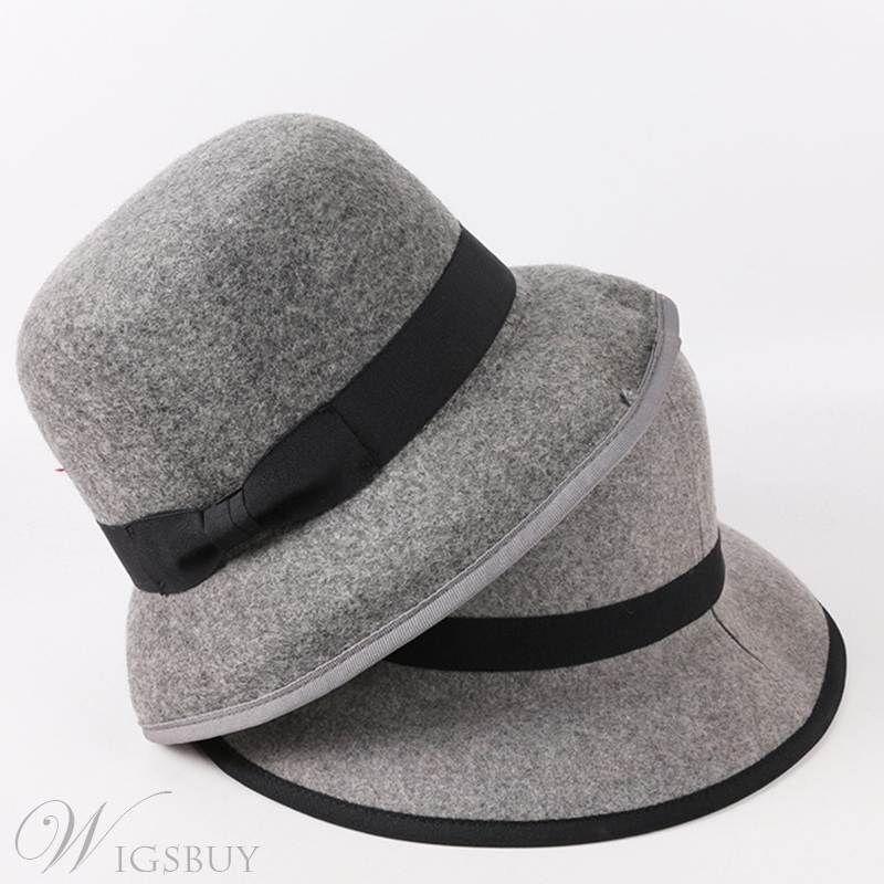 Spring Fall Winter Women/Ladies Plain Wide Brim Dome Caps Adult Wool Blends Bucket Hat
