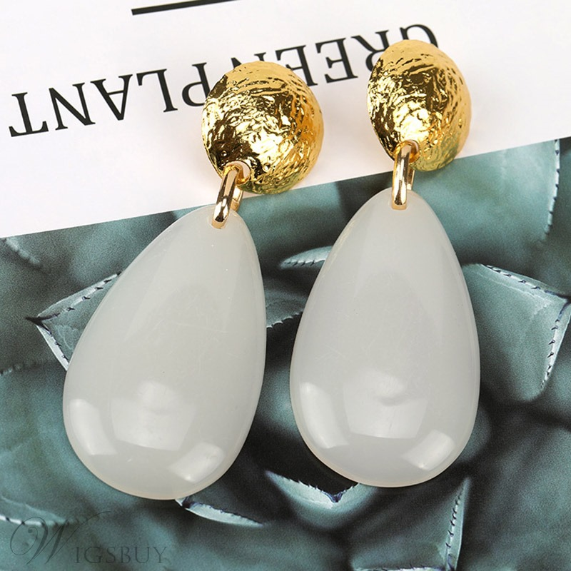Women/Ladies European Style Colorful Water Drop Plastic E-Plating Drop Earrings for Prom/Anniversary/Wedding/Party/Birthday/Gift/Holiday