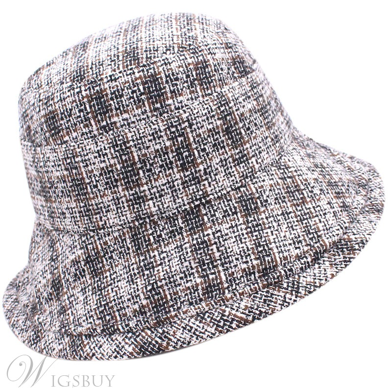 Adult Women's Grid Printed Plaid Dome Crown Wide Brim Wool Blends Bucket Hats