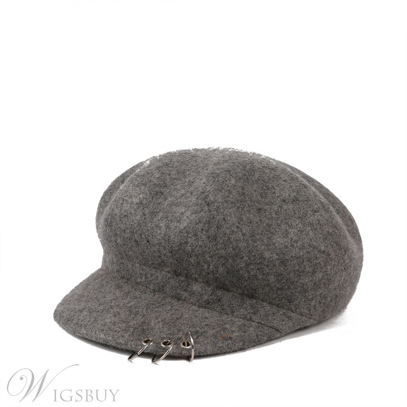 Women's Winter/Fall Short Brim Dome Crown Plain Wool Baseball Cap Hats