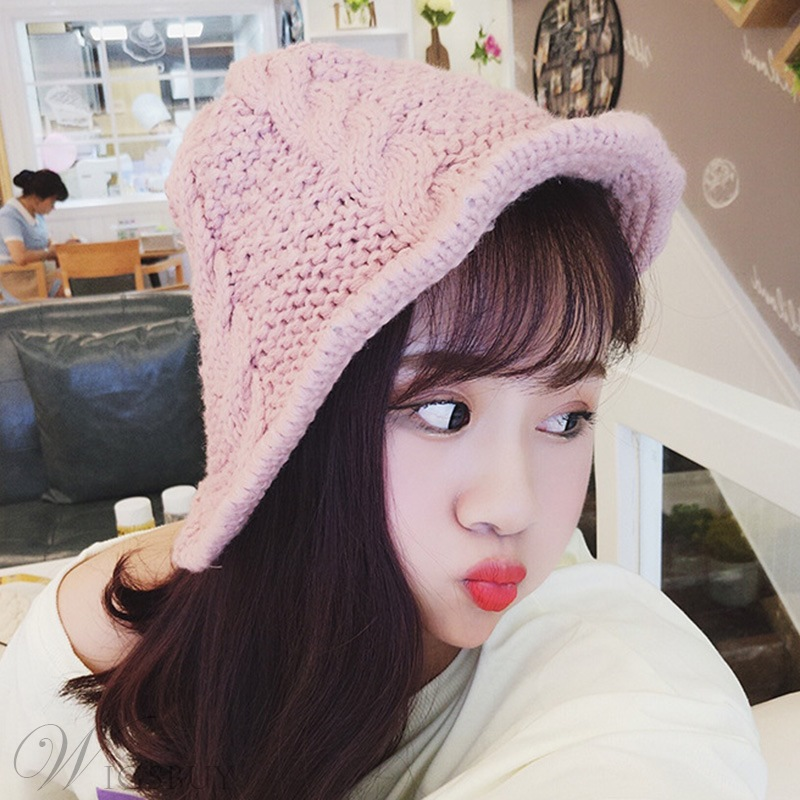 Women's Acrylic Knitted Rolled Brim Hat Casual Hemming Plain Cone Hats For Spring Fall Winter