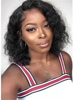 Medium Bob Kinky Curly Human Hair African American Wigs 16 Inches