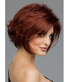 Sexy Women's Short Bob Hairstyles Natural Straight 100% Human Hair Wigs Lace Front Cap Wigs 14Inch