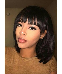 Flattering Side Bangs Hairstyle Natural Straight Human Hair Women Wig 14 Inches