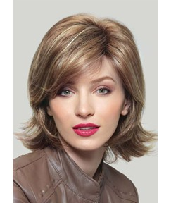 Natural Looking Women'S Short Shaggy Straight Human Hair Wigs 120% Density Lace Front Wig 16inch