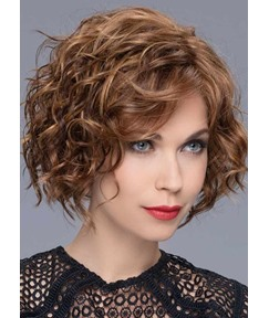 120% Density Women's Middle Length Brown Color Hairstyles Curly Human Hair Wigs Rose Lace Front Wigs 16Inch