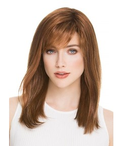 100% Human Hair Women's Medium Hairstyles Light Brown Color Natural Straight Lace Front Cap Wigs 20Inch