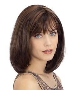 Medium Bob Hairstyles Women's Natural Looking Straight Human Hair Lace Front Cap Wigs 18Inch