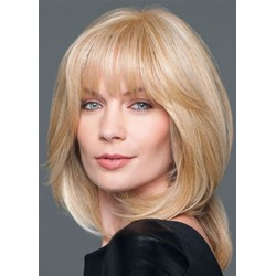 Blonde Color Human Hair Wigs Womens Medium Layered Hairstyles Natural Straight Lace Front Cap Wigs 18Inch