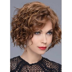 120% Density Womens Middle Length Brown Color Hairstyles Curly Human Hair Wigs Rose Lace Front Wigs 16Inch