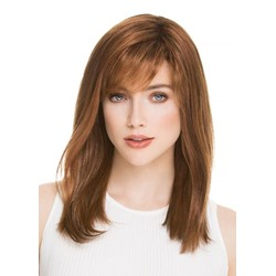 100% Human Hair Womens Medium Hairstyles Light Brown Color Natural Straight Lace Front Cap Wigs 20Inch