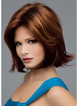 Women's Middle Part Bob Hairstyles Natural Straight 100% Human Hair Wigs Lace Front Cap Wigs 14Inch