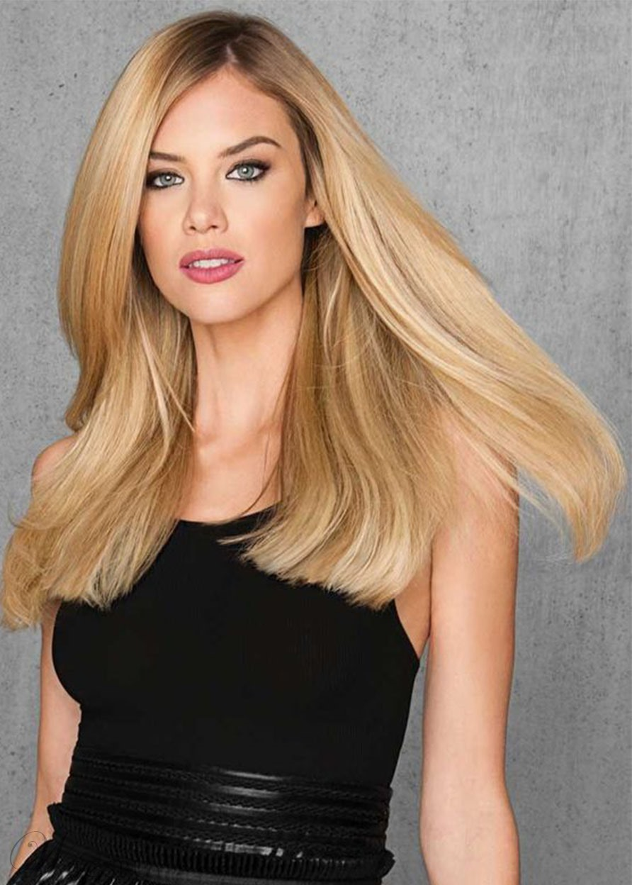 Natural Looking Blonde Color Women's Sexy Straight Human Hair Wigs Long Length Lace Front Cap Wigs 22Inch