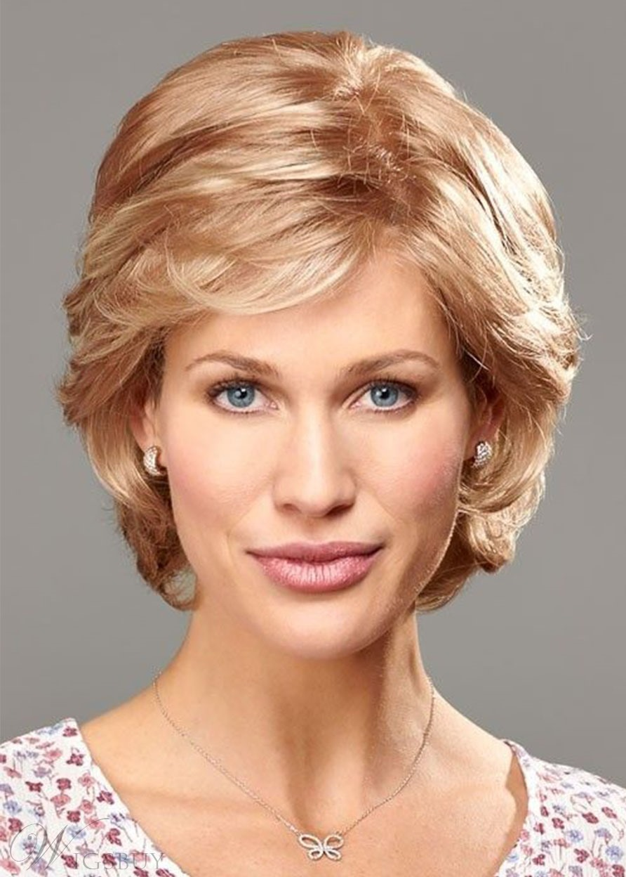 Natural Looking Women's Side Part Short Bob Hairstyles Wavy Human Hair Wigs Lace Front Wig 12Inch