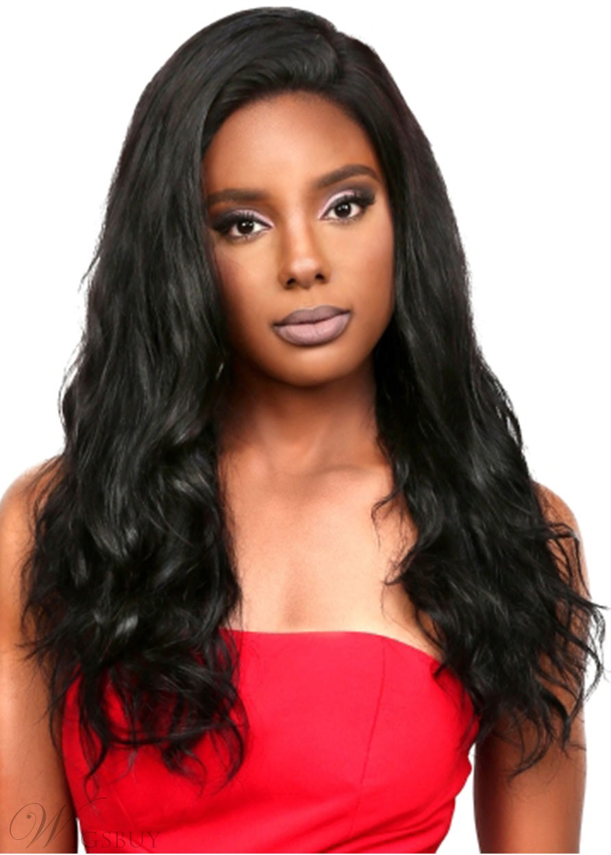 Women's 100% Human Hair Wigs Long Length Body Wave Hair Style Lace Front Cap Wigs 24Inch