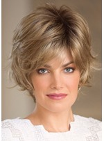 Short Layered Hairstyle Women's Side Part Blonde Color Synthetic Hair Wigs Natural Straight Capless Wigs 14Inch