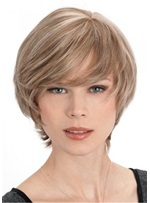Short Hair Cut Natural Straight Synthetic Hair With Bangs Women Wig 10 Inches
