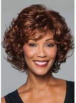 Women's Natural Looking Brown Color Medium Layered Hairstyle Curly Synthetic Hair Capless Wigs 14Inch