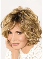 Natural Looking Rooted Color Women's Side Part Curly Synthetic Hair Wigs Lace Front Cap Wigs 14Inch