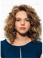 Long Bob Curly Hairstyles Synthetic Kinky Curly Women Wig 16 Inches