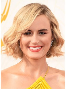 Taylor Schilling's Wavy Bob Hairstyle Human Hair Wig 12 inches