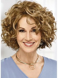 Women's Short & Sassy Hairstyles Layering Curly Synthetic Hair Wigs Rose Net Capless Wigs 18Inch