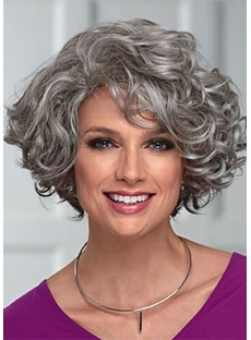 Elegant Women's Mid-Length Wig With Face-Framing Layers Of Loose Curly Synthetic Hair Capless Wigs 16Inch