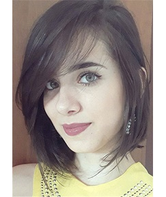 Fine Short Hairstyle Natural Straight Human Hair With Bangs Women Wig 14 Inches