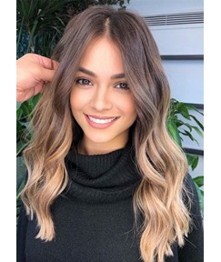 Women's 4/27 Brown to Blonde Middle Part Long Length Body Wave Synthetic Hair Capless Wigs 22Inch