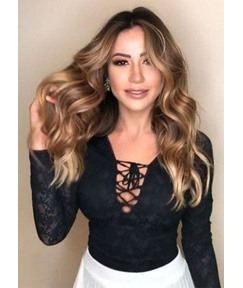 Natural Looking Middle Part Women's Synthetic Hair Wigs Long Length Body Wave Capless Wigs 24Inch