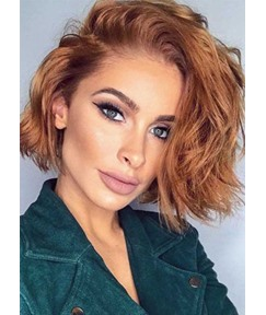 Women's Attractive Short Wavy Bob Hairstyles Side Part Vibrant Colour Synthetic Hair Capless Wigs 16Inch