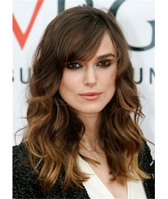 Keira Knightley Long Hairstyle Synthetic Hair With Bangs Wavy Wig 18 Inches