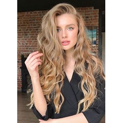 120% Density Womens Long Length Blonde Color Body Wave Natural Looking Synthetic Hair Capless Wigs 24Inch