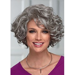Elegant Womens Mid-Length Wig With Face-Framing Layers Of Loose Curly Synthetic Hair Capless Wigs 16Inch
