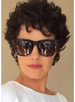 Trending Women's Short Curly Hairstyles Short Length Synthetic Hair Wigs Lace Front Cap Wigs 8Inch