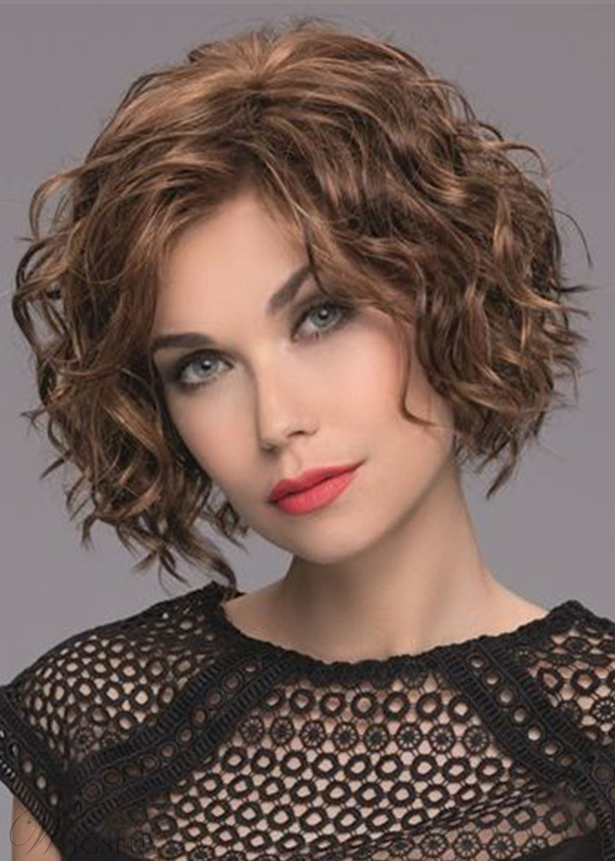 Women's Mid-Length Style Full Curls Synthetic Hair Wigs Natural Hairline Lace Front Wigs 14Inch