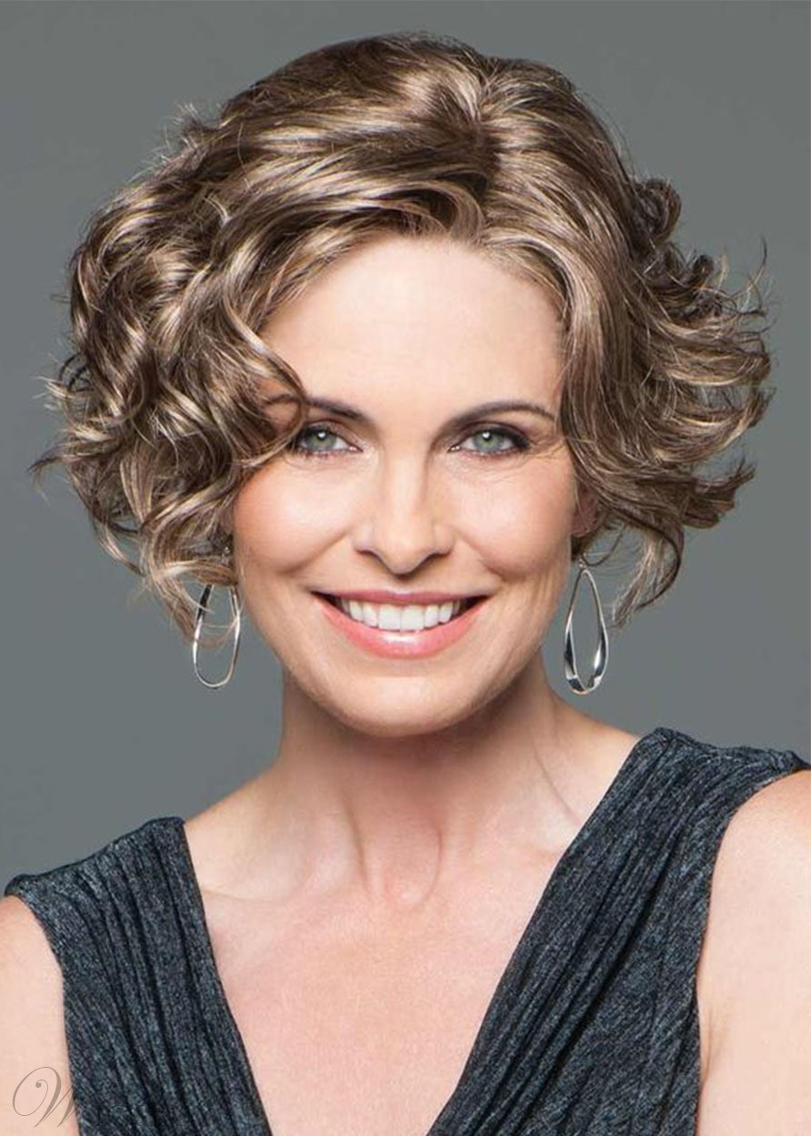 Women's Face Framing Side Part Short Curly Hairstyles Synthetic Hair Wigs Rose Capless Wigs 14Inch