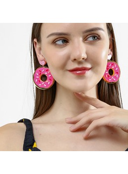 Sweet Doughnut Pattern Drop Earrings