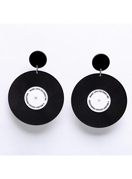 Individuality Circular Shape Color Block Drop Earrings