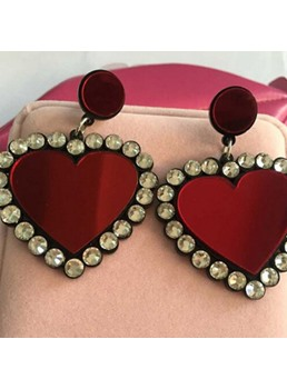 Sweet Heart-Shaped Rhinestone Drop Earrings