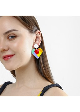 Occident Style Heart-shaped Acrylic Drop Earrings
