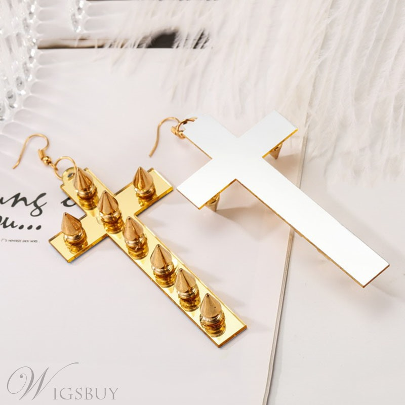 Dazzling Cross Shape Rivet Drop Earrings