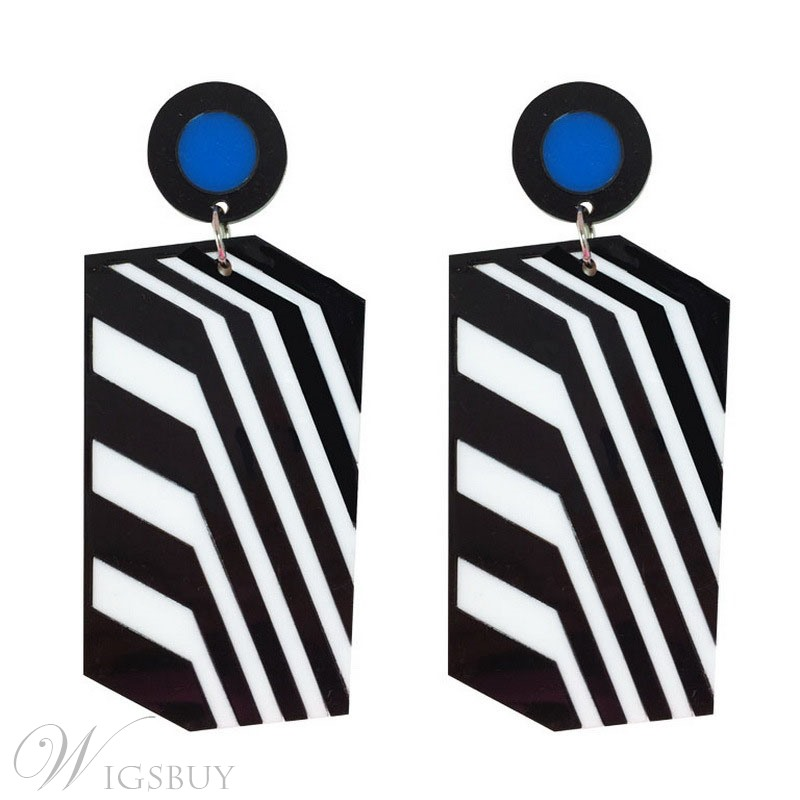 Retro Stripe Pattern Acrylic Female Drop Earrings