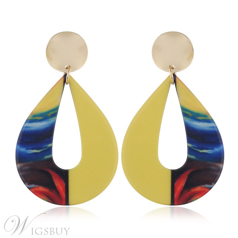 European Style Color Block Acrylic Drop Earrings